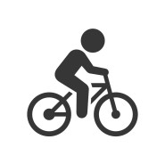 Man on Bicycle Icon on White Background. Vector Illustration